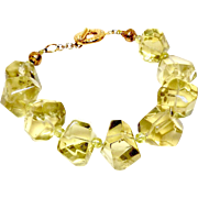 Large Faceted Lemon Quartz, Green Peridot Bracelet