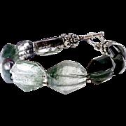 Faceted Green Lodalite, Sterling Silver Bracelet