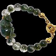 Carved Dark Green Spinach Jade Monkey with Green Rutilated Quartz Bracelet