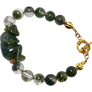 Carved Dark Green Spinach Jade Monkey with Green Rutilated Quartz Bracelet