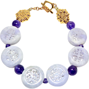 Carved Lavender Jade Longevity, Double Happiness Bracelet