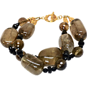 Smokey Quartz Double Strand Bracelet