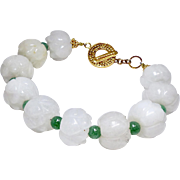 Carved White Carved Jade Lotus, green Aveturine Bracelet