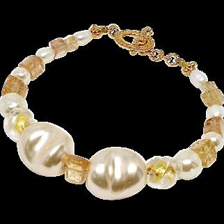 Baroque Pearl, Imperial Topaz and Italian Gold Foil Bracelet