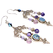 Harlequin Opal with Purple Amethyst Chandelier Drop Earrings