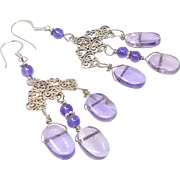 Purple Amethyst Drops Chandelier Drop Earrings