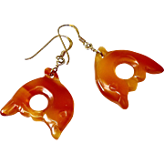 Carved Carnelian Oranvge Agate Fish Drop Earrings