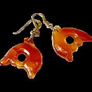 Carved Carnelian Oranvge Agate Fish Drop Earrings