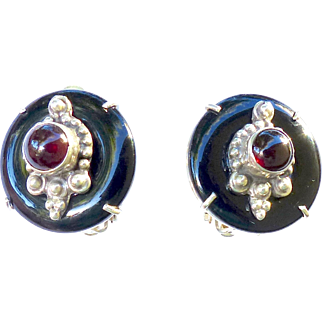 Black Onyx and Red Garnet Button Earrings