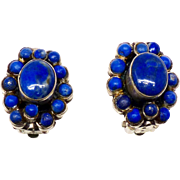 Vintage Indian Lapis and Silver Pieced Button Earrings