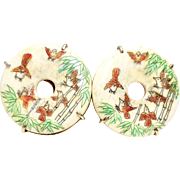 Large Hand Etched Bone Birds in a Bamboo Forest Button Earrings