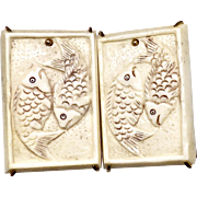 Carved Bone Double Fish Button Earrings