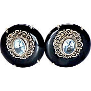 Black Onyx and Faceted Blue Aquamarine Button Earring