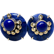 Deep Blue Lapis, Sodalite and Indonesian Silver Button Earrings