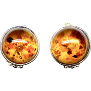 Vintage Baltic Amber and Sterling Silver Button French Clip Earrings