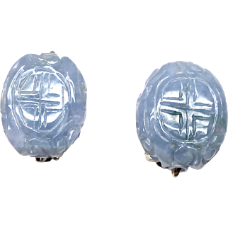 Carved Natural Blue Jade Dragon and Long Life Button Earrings