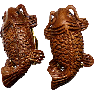 Hand Carved Boxwood Fish Pierced Button Earrings