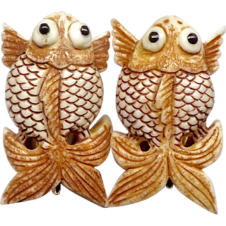 Hand Carved Bone Fish Button Earrings