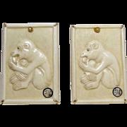 Carved Bone Monkey Button Earrings