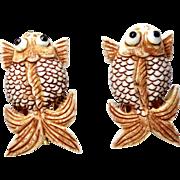 Carved Ox Bone Fish Pierced Button Earrings