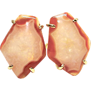 Orange Agate Button Earrings