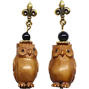 Carved Boxwood Owls Drop Earrings