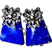 Natural Blue Lapis and Silver Butterfly French Clip Button Earrings