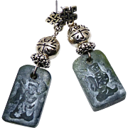 Vintage Etched Natural Unpolished Jade Of Goddess Kwan Yin, Sterling Silver Drop Earrings