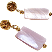 Pink Mother Of Pearl Drop Earrings