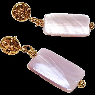 Pink Mother Of Pearl Drop Earrings