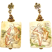 Etched Bone Pendants - Asian Men - Drop Earrings