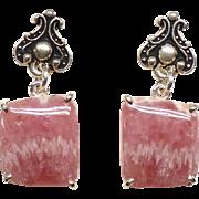 Pink Rhodocrosite Drop Earrings
