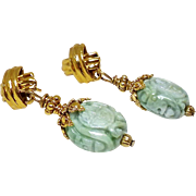 Carved Natural Green Jade Dragon and Double Happiness Drop Earring