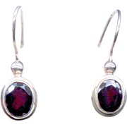 Deep Red Faceted Garnet and Sterling Silver Drop Earrings