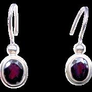 Deep Red Faceted Garnet and Sterling Silver Drop Earrings