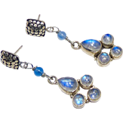 Blue Moonstone and Sterling Silver Drop Earrings
