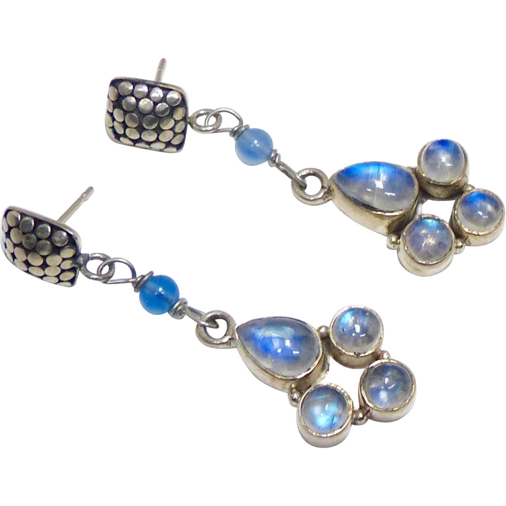 Blue Moonstone and Sterling Silver Drop Earrings from ...