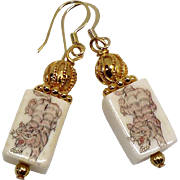 Etched Bone Tiger Drop Earrings