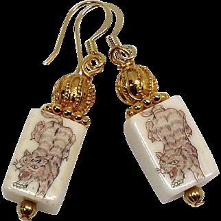 Etched Bone Tiger Drop Earrings