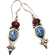 Australian Opal and Faceted Garnet Drop Earrings