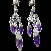 Purple Amethyst Lace Fancy Drop Earrings