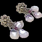 Pale Pink Keishi Petal Pearl Drop Earrings