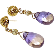 Faceted Ametrine Teardrops with Faceted Citrine 18K gold Vermeil Drop Earrings