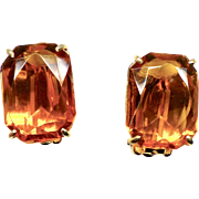 Vintage Amber Glass Button Earrings