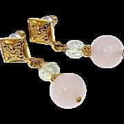 Rose Quartz, Faceted Fluorite Drop Earrings