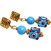 Turquoise and Glass Lamp Work Eye Bead Drop Earrings