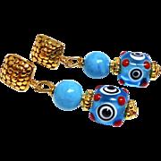Turquoise and Glass Lamp Work Eye Bead Drop Earrings