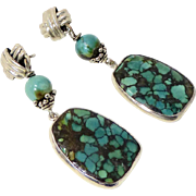 Natural Chinese Turquoise, Sterling Silver Drop Earrings