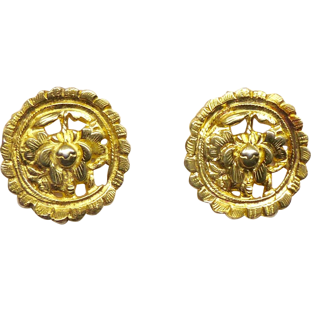 Antique Chinese 18k Gold Vermeil Button Earrings From