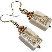 Hand Etched Bone Horse Drop Earrings